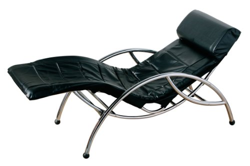 Premier Housewares Rocking Chair with Chrome Frame, 74 x 164 x 63 cm, Black