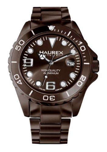 Haurex Italy 7K374UMM - Reloj analógico de cuarzo para hombre con correa de acero inoxidable, color marrón