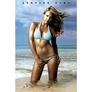 Jessica Alba in Blue Bikini, Photo Print Poster - 24x36