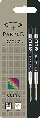 Parker Lot de 2 Quink Gel Recharge pour Stylo-bille Pointe Moyenne Noir