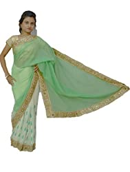 Aradhya Women's Green and Cream Georgette Designer Saree with Blouse Piece