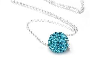 Sterling Silver & Aqua Blue Color Crystals Ball Pendant, Includes 18 Inch Rolo Chain.