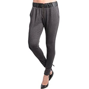 G2 Chic Women's Faux Leather Waistband Zipper Front Harem Pants(BTM-PNT,DGY-M)