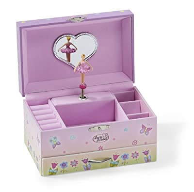 Pink Fairy & Butterfly Kids Musical Jewellery Box - Glittery Music Box with Ring Holder - LL