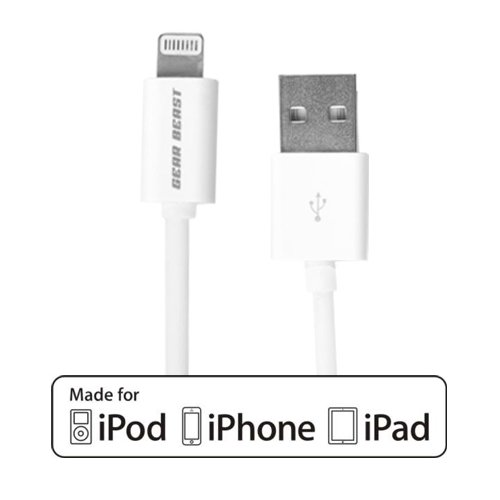 [Lifetime Hassle Free Warranty] Gear Beast 1 Meter/3.3 Feet Lightning Sync & Charge Cable [Mfi Certified By Apple] Compatible With Iphone 5 / 5S / 5C, Ipad 4Th Gen, Ipad Air, Ipad Mini, Ipad Mini With Retina Display, Ipod Touch 5Th Gen And Ipod Nano 7Th G