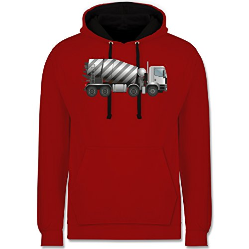 andere-fahrzeuge-betonmischer-fahrmischer-xs-rot-schwarz-jh003-unisex-damen-herren-kontrast-hoodie