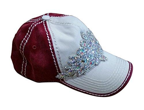 Olive & Pique Women's Large Bling Sports Fan Gem Rhinestone Baseball Cap (One Size, Ivory/Burgundy) (Baseball Gems compare prices)
