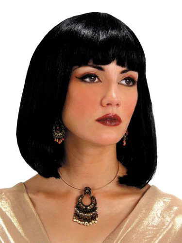 Cleopatra Egyptian Wig Theatre Costumes Accessory Black Medium Length Wig With Bangs Fringe