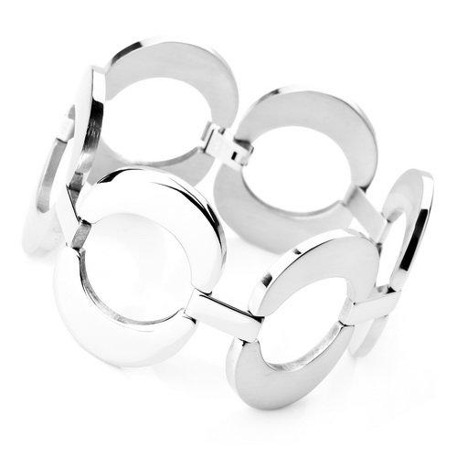 Justeel Jewellery Stainless Steel Bangle Bracelet Chain Men Unisex Silver Huge Round Link