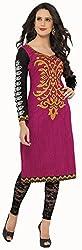 Hrinkar Women's Cotton Printed Kurta Dress Material (HRKT228_Pink_Free Size)