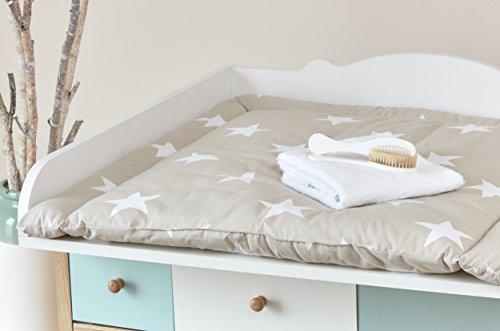 kraftkids wickelauflage gro e wei e sterne auf beige breit 78 x tief 78 cm z b f r malm oder. Black Bedroom Furniture Sets. Home Design Ideas