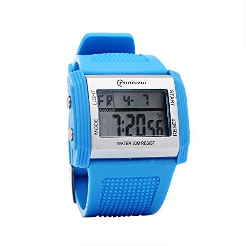 Mingrui Fashion New Multifunction Boy Digital Led Quartz Alarm Date Sports Wrist Watch Waterproof Light Blue