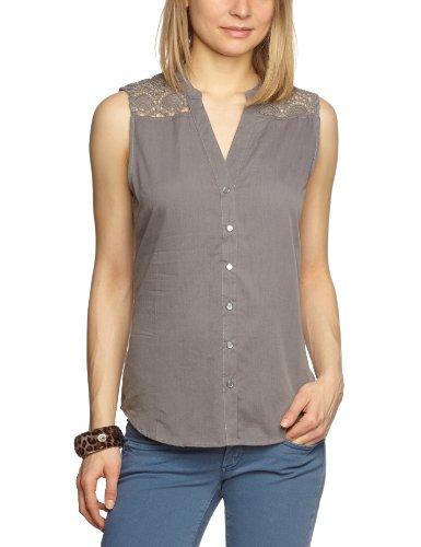 VILA CLOTHES Damen Bluse 14016126 CROCH S/L TOP, Gr. 34 (XS), Grau (RABBIT)