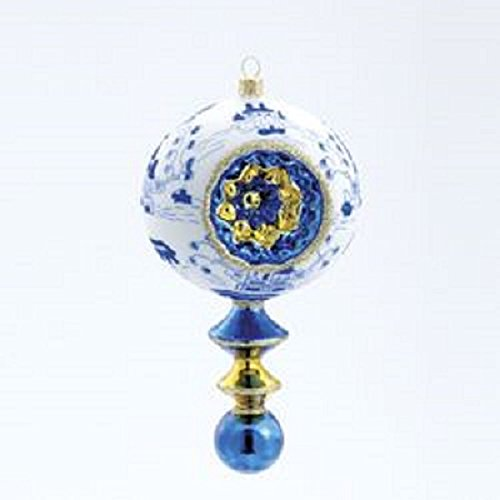 David Strand Canton Blue Finial Glass Ornament with Retro Reflector 7″