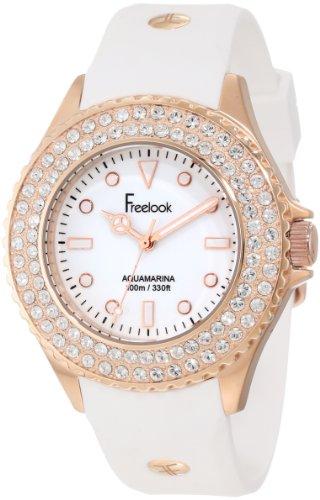 Freelook Women's HA9036RG-9 White Band & Dial Rose Gold Case Swarovski Bezel Watch