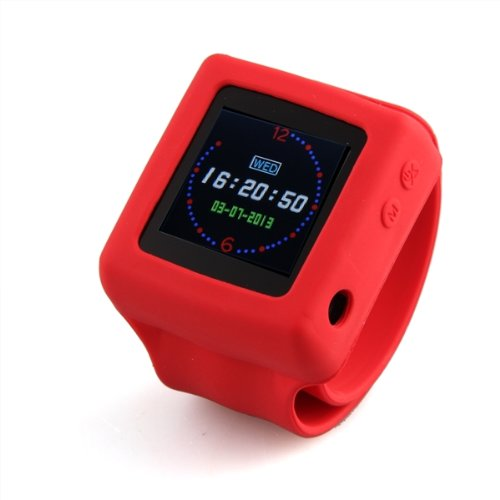 """Red 1.4"""" Lcd Tf Card Watch Mp3 Mp4 Player Audio Recorder Fm Radio Photo Frame"""