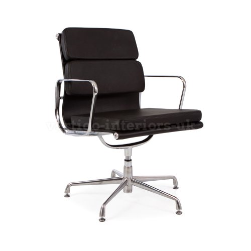 *Set Of 2* High Quality Eames Style Soft Pad Office Chair - Black Leather - Glide Base front-156932