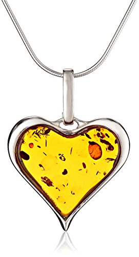 Sterling Silver and Honey Amber Heart Pendant Necklace, 18""