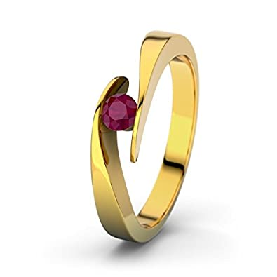 21DIAMONDS Summertime Round Brilliant Cut Engagement Ring with Ruby 9ct Yellow Gold Ladies Engagement Ring