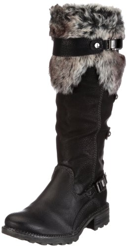 TAMARIS BY WORTMANN LADIES FUR LINED BIKER BOOT 26605 (6 UK 39 EU, BLACK)