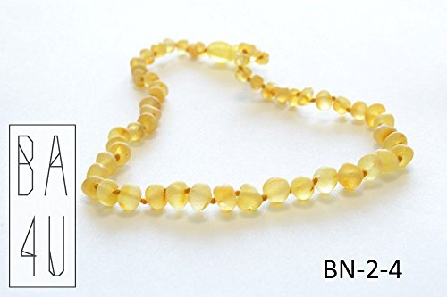 -RAW-Baltic-Amber-Teething-Necklace-For-Baby--Safe-Beads--Lemon-Color--32cm-13-inches-Length--Natural-Pain-Relief--Safety-Clasp-FREE-Booklet-with-Certificate-of-Authenticity-