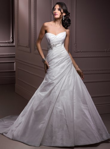 Simple White Taffeta Wedding Gown  Beading