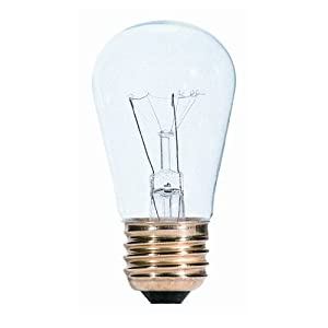 25 Pack 11 Watt S14 Medium Base 130 Volt 2500 Hour Clear Sign or Indicator Lightbulb