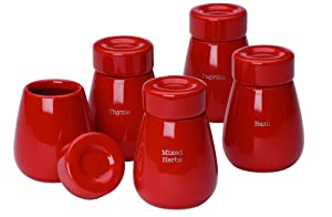 Tyhpoon Buick Red Stoneware Herb Jars set of 5