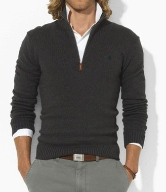 Polo Ralph Lauren Mens Cotton Half Zip Jumper Sweater in Dark Grey (X-Large)
