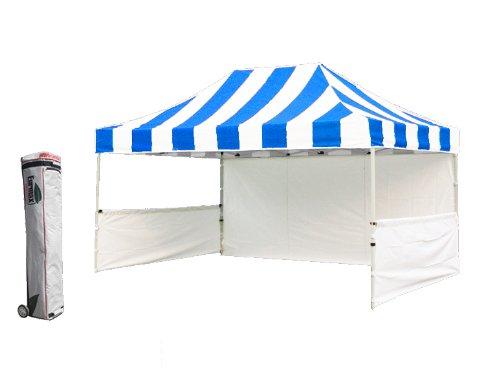 Eurmax Premium 10x15 Ez Pop up Canopy Tent Aluminum Frame Gazebo with Sidewall and Wheeled Bag,bonus 4weight Bag (Stripe Blue) image