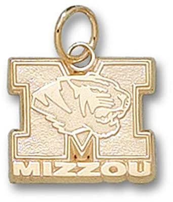 Missouri Tigers New M Mizzou with Tiger Head 1 2 Charm - 14KT Gold Jewelry by Logo Art