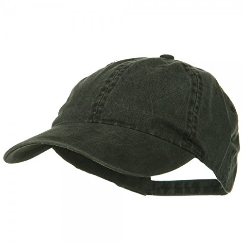 Washed Solid Pigment Dyed Cotton Twill Brass Buckle Cap - Black