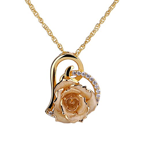 ZJchao 24K Gold Plated Rhinestone Heart Shaped Cream Rose Pendant Necklace for Women (Gold Dipped Crystal Pendant compare prices)