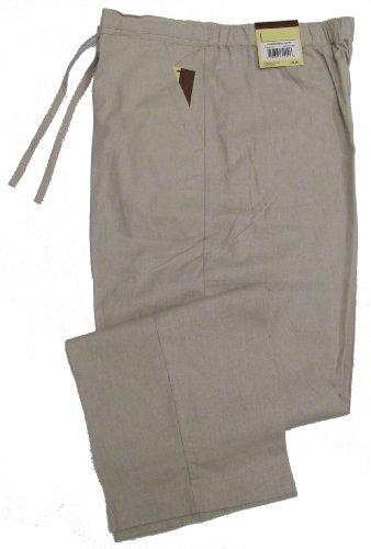 Havanera Mens Relaxed Fit Drawstring Linen Rayon Blend Pants Silver Lining M