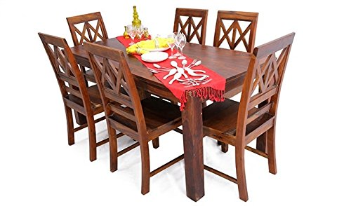 Wood Mania SH-204 Dining Table with Six Chairs (Matte Finish, Honey)