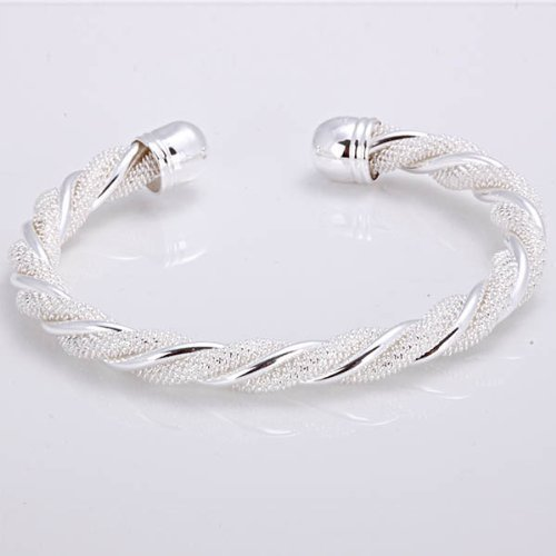 Lingstar(TM) Solid Silver SG925 Women twine Distort Bangle Bracelet Jewelry