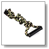 Dog 18 Inch Camo Rope Toy with 4 Knots and Grip Handle for Large Dogs