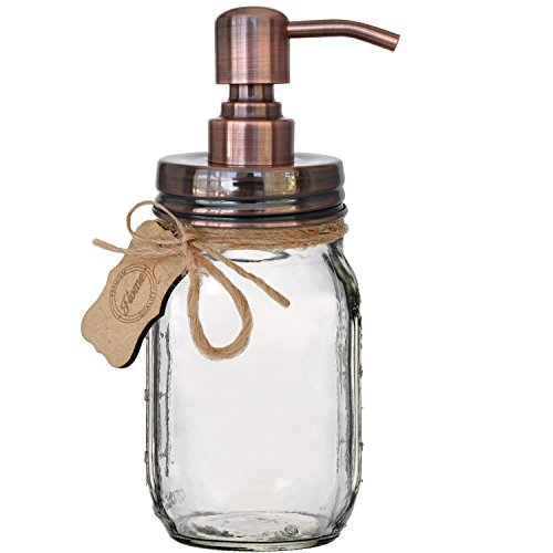 Premium Rust Resistant 304 18/8 Stainless Steel Mason Jar Soap Pump / Lotion Dispenser Kit by Premium Home Quality - Includes 16 oz (Regular Mouth) Glass Mason Jar (Brushed Copper) (Canning Jars Soap Pump compare prices)