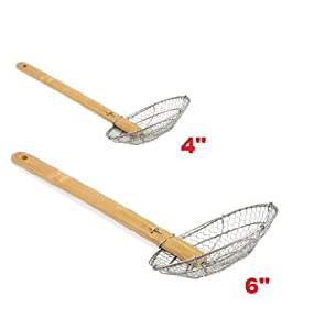 (Set of 2) 4 and 6 Stainless Steel Asian Spider Skimmer Strainer w Bamboo Handle by Chef Kitchen