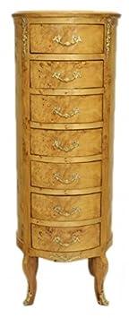 Casa Padrino Barock Kommode Vogelaugen Ahorn / Gold mit 7 Schubladen Rund - Antik Stil