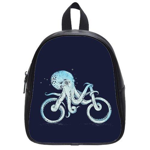 Generic Custom Octopus Bicycle Shape Printed Black School Bag Backpack Fit Short Trip PU Leather Small
