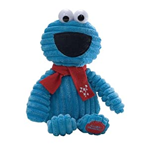 Gund Sesame Street Cord Christmas Cookie Monster With Red Scarf 320328