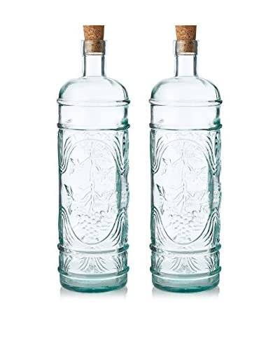 French Home Set of 2 Round 34-Oz. Bottles with Corks, Ice Clear