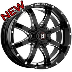 Ballistic 955 Anvil 18×9.0 Gloss Black & Milled Wheel 6x135mm 6×139.7 (6×5.5) Bolt Pattern / 12mm Offset / 100.4mm Hub Bore