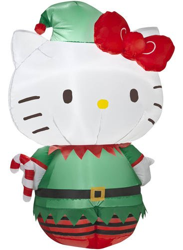 Hello Kitty 3' Christmas Lighted Airblown Inflatable Yard Decoration By Gemmy front-87792