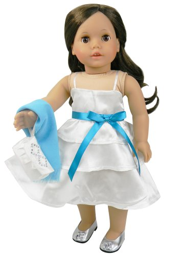 18 Inch Doll Clothes/clothing Fits American Girl Dolls - White Satin Doll Dress, Teal Shawl and Satin Doll Purse