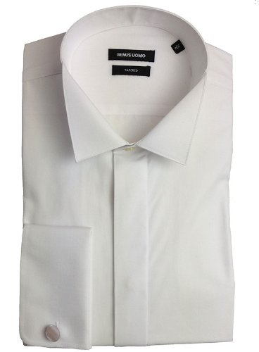 Remus Uomo Tapered Fit Wing Collar White Dress Shirt - 17.5