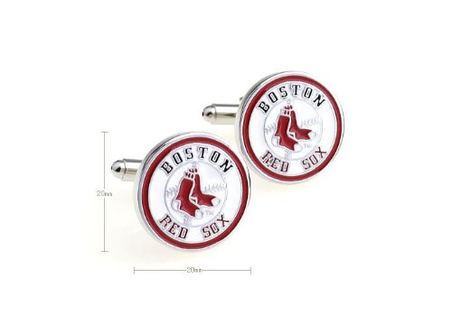 Round Red Plated Sport Term Cufflinks Red Sox Design