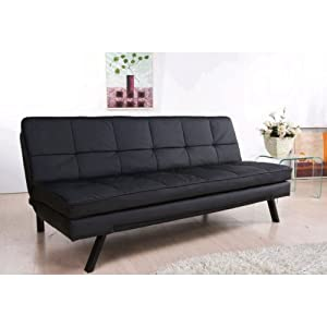 Double Cushion Convertible Sofa Leather Euro Lounger