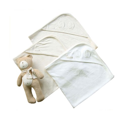 100% Organic Cotton Baby Swaddle Blanket Infant Wrap Bath Hooded Towel _ 3 Pack(73Cm X 73Cm) front-783081